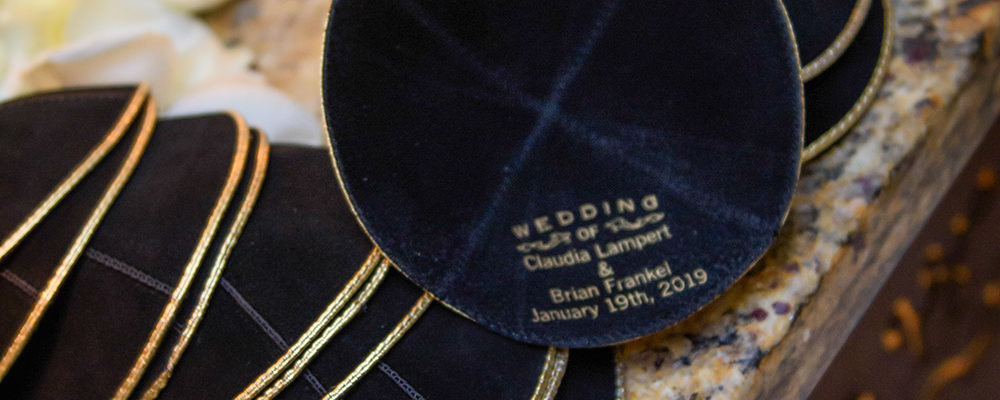 gift idea Personalized Kippot for jewish wedding